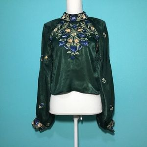 Free People Green Jessica Embroidered Blouse